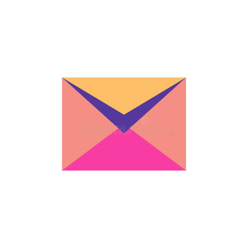 Half open postal envelope on white background. Half open mail envelope isolated. Mail symbol for web design, mobile applications, user interface. Concept of stock illustration