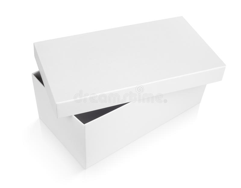 Half-open shoe box on white royalty free stock images