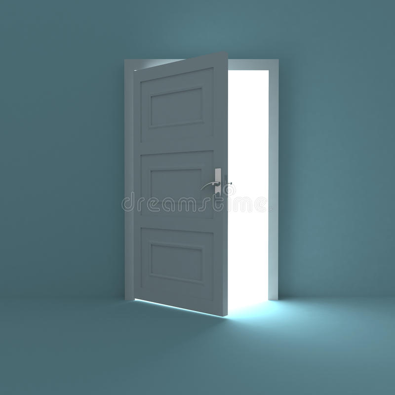 Half opened door to white light vector illustration
