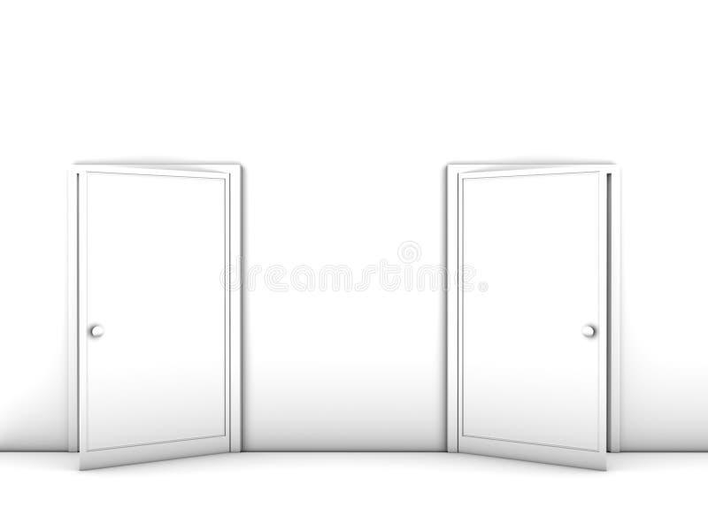 Half-opened doors stock illustration