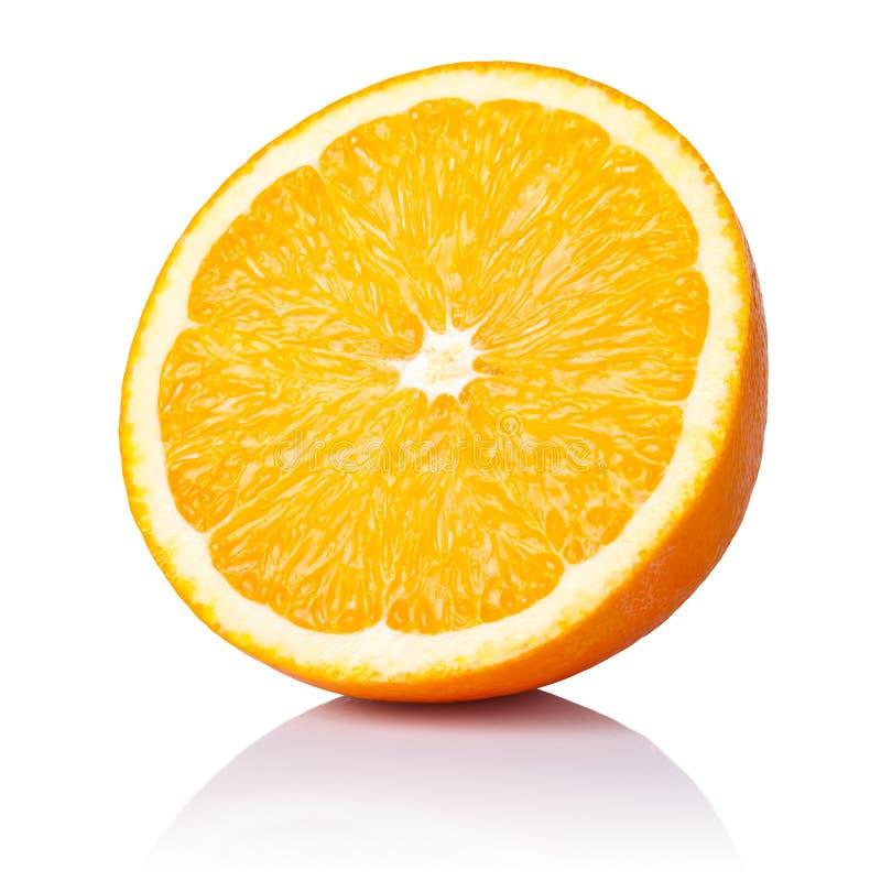 Half Orange. Fruit on white background, fresh and juicy stock images