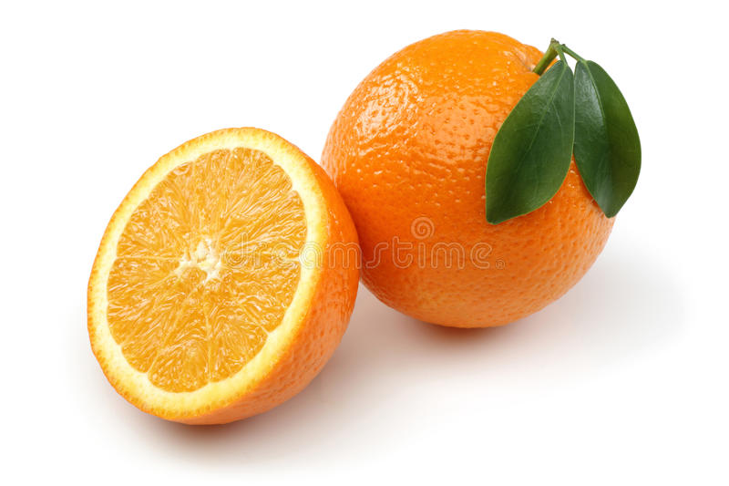 Half Orange and Orange royalty free stock photography
