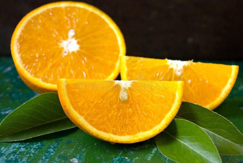 Half of orange, orange lobule. overhead view. Orange, half of orange, orange lobule royalty free stock image