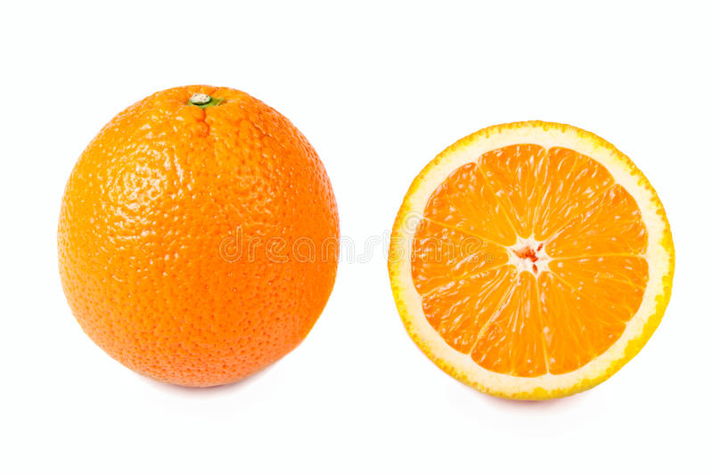 And half oranges isolated stock photos