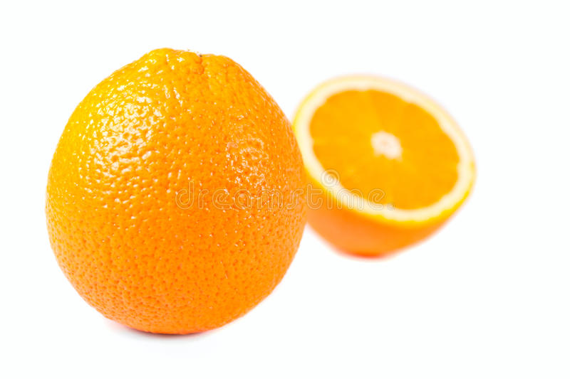 And half oranges isolated royalty free stock photography