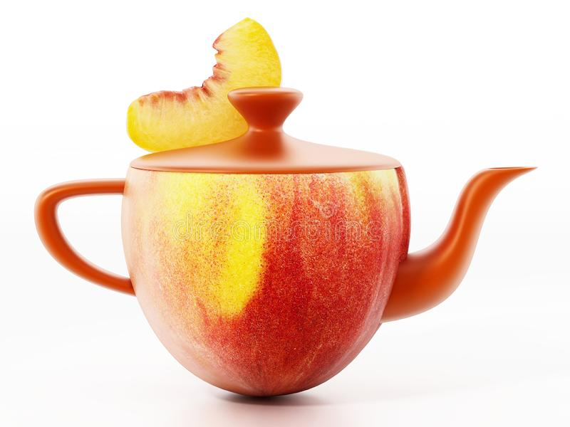 Half peach combined with teapot with a slice of peach. 3D illustration.  stock illustration