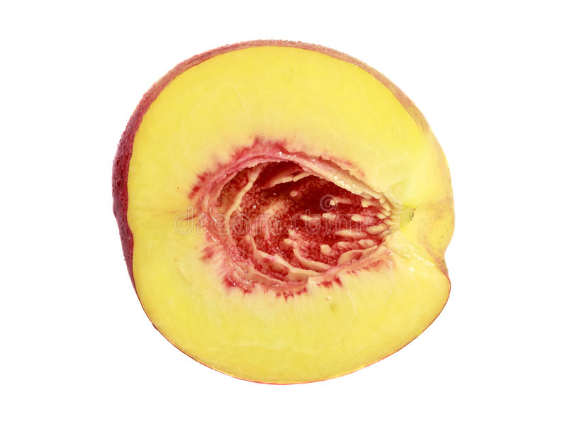 Half peach on white background isolated stock image
