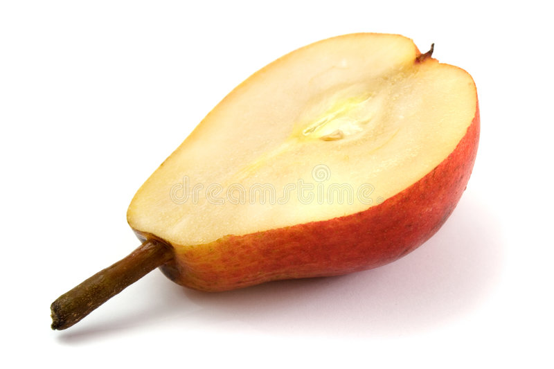 Half of pear. Half of ripe pear on white background royalty free stock image