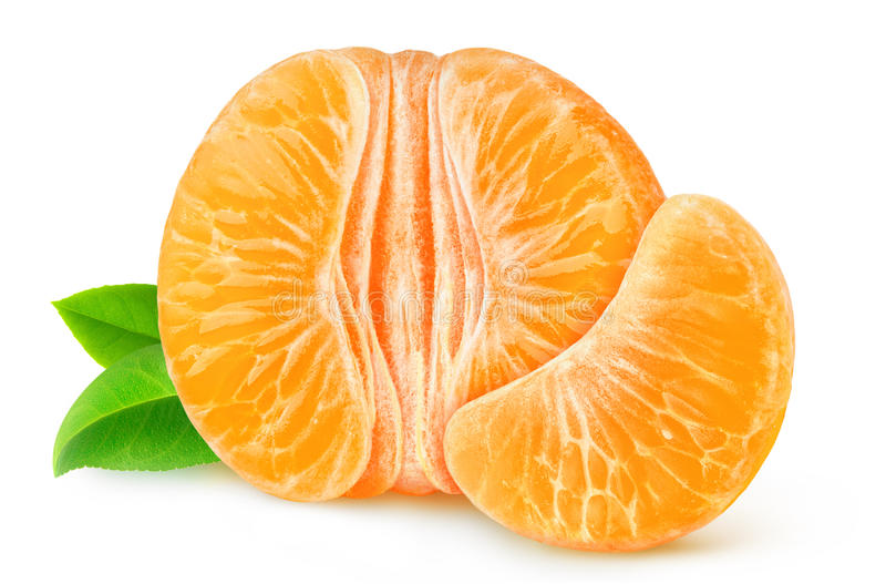 Half of peeled tangerine or orange isolated stock photography