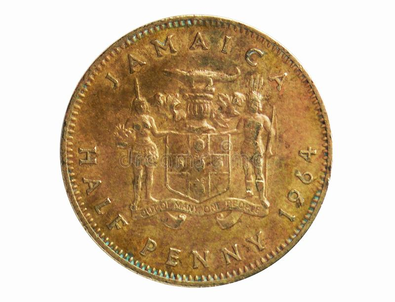 Half penny coin, 1840~1969 - Pound - Circulation serie, Bank of Jamaica. Reverse, issued on 1964. Isolated on white stock photos