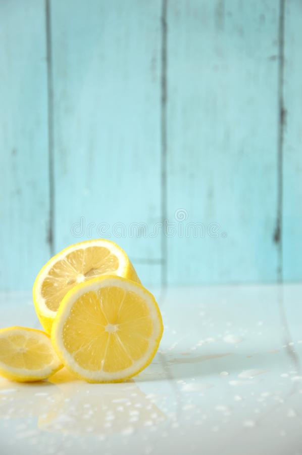Fresh Lemon on White Background with Space for Text royalty free stock photography