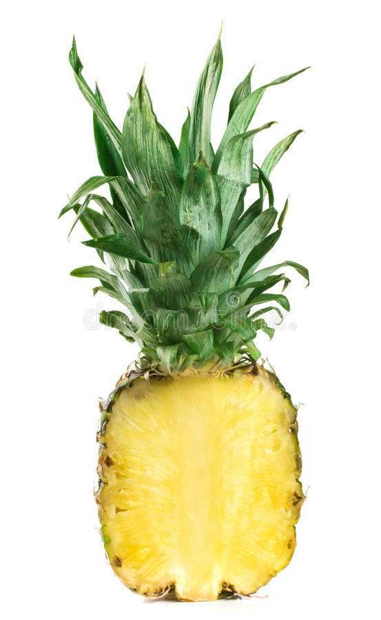 Half of pineapple isolated on white background.  royalty free stock images