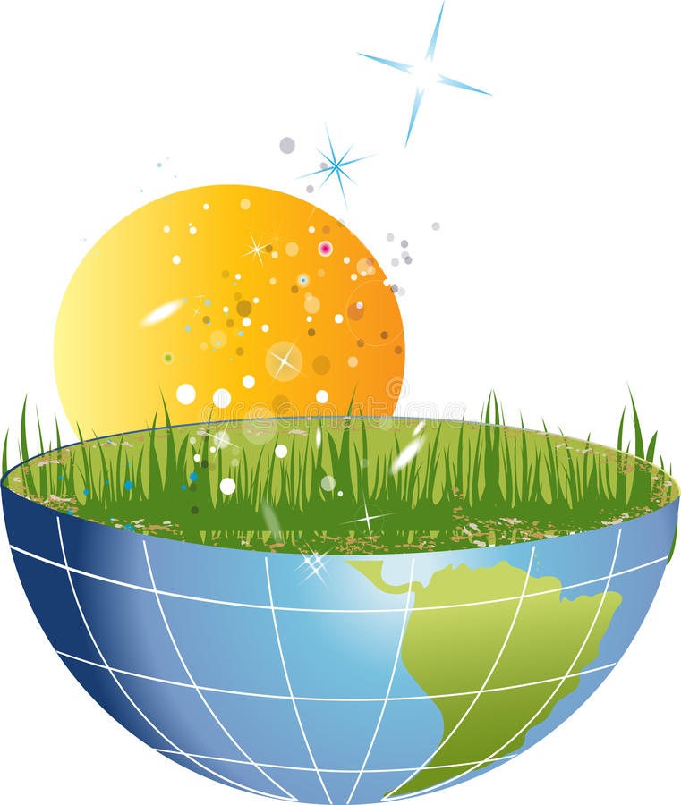 Half Planet With Grass And Sun Stock Images