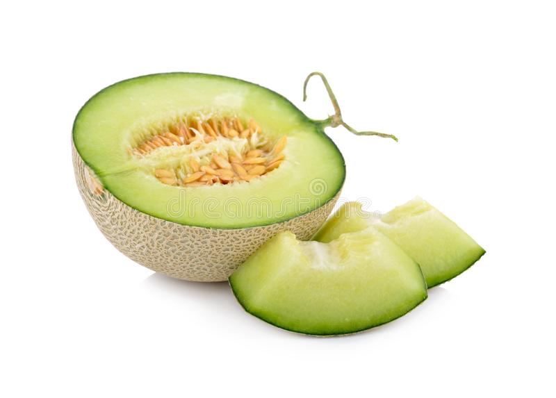 Half and portion cut ripe sweet honeydew green melon on white ba stock images