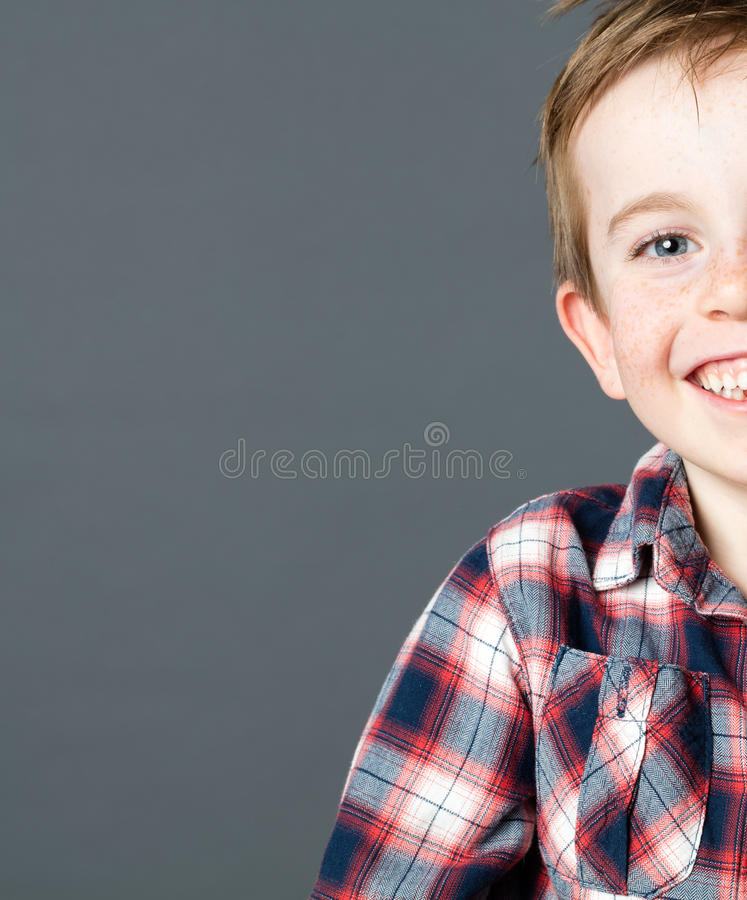 Half portrait of a young preschooler for fun wellbeing stock image
