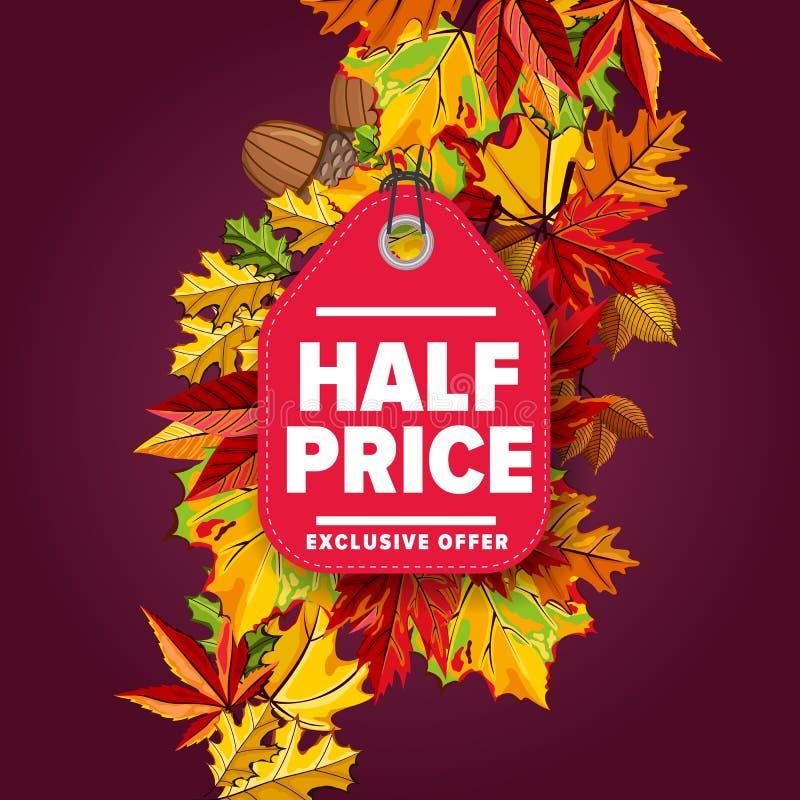 Half price label. Exclusive offer. stock illustration