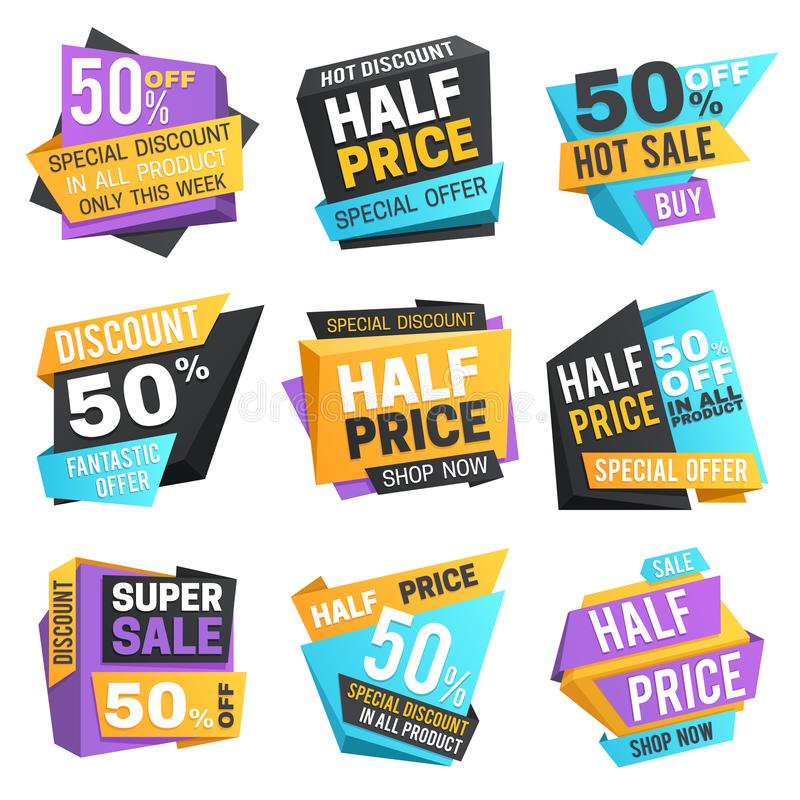 Half price labels. Super 50 off discount sale pricing tags. Vector set vector illustration