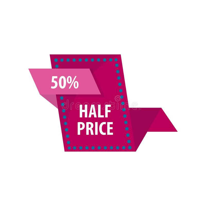 Half price reduction good offer sale vector illustration. Half price reduction good offer sale. Special tag for shoppers and clients of shops. Announcement of royalty free illustration