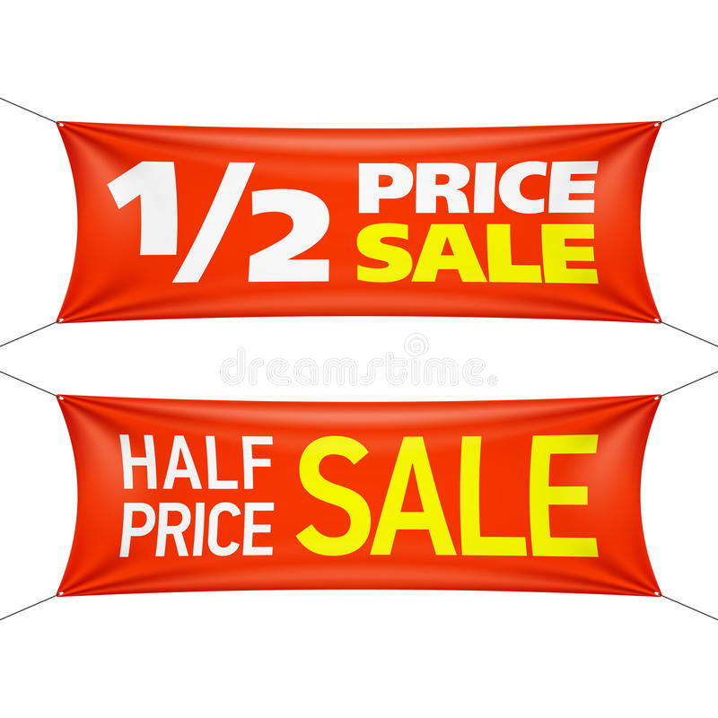 Half price sale banners stock illustration
