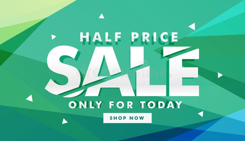 Half price sale discount banner for marketing stock illustration