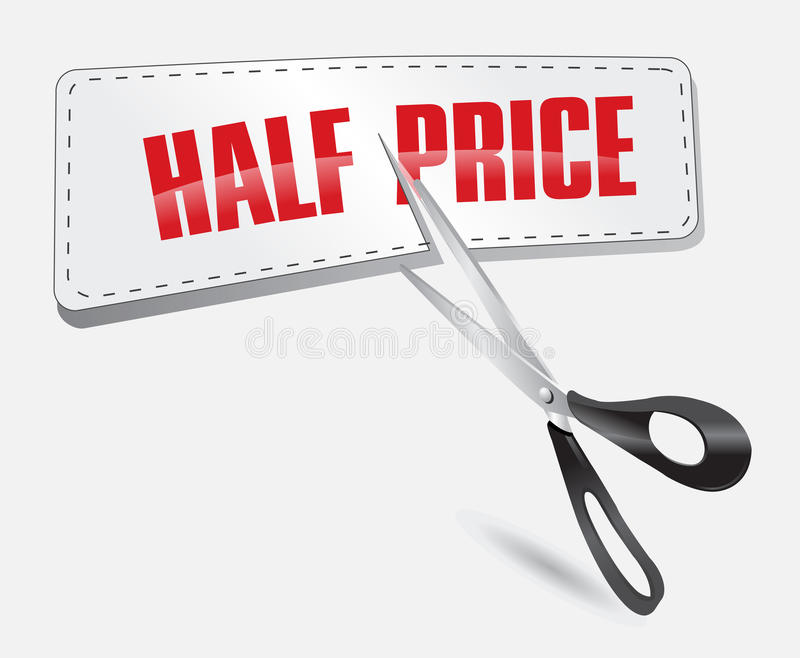 Half price sticker stock illustration