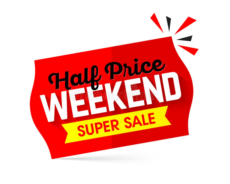 Half price weekend super sale banner design royalty free illustration