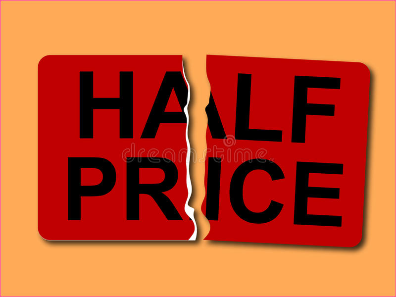 Half prisetikettsvektor stock illustrationer