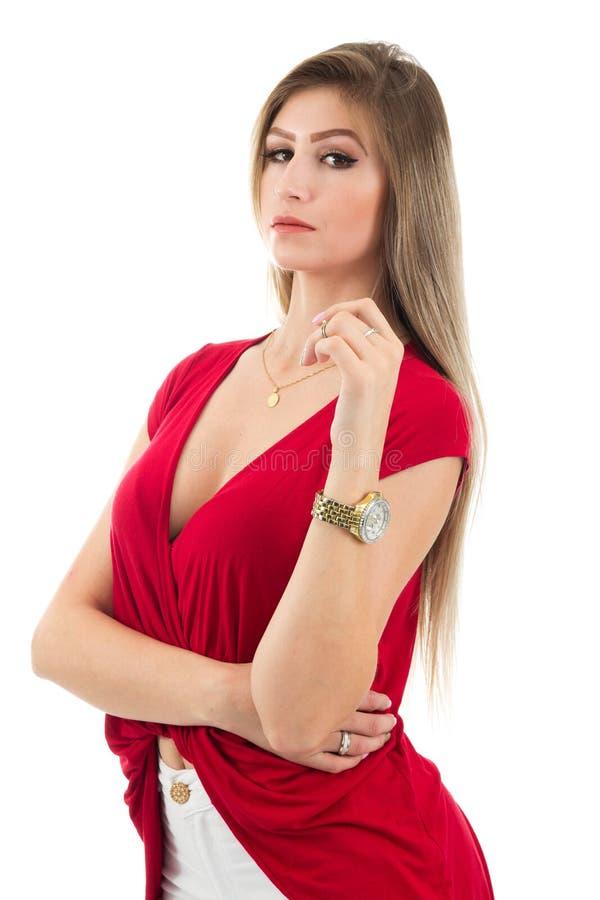 Half profiel van vrouw die de camera bekijken Blondepersoon en w royalty-vrije stock afbeeldingen