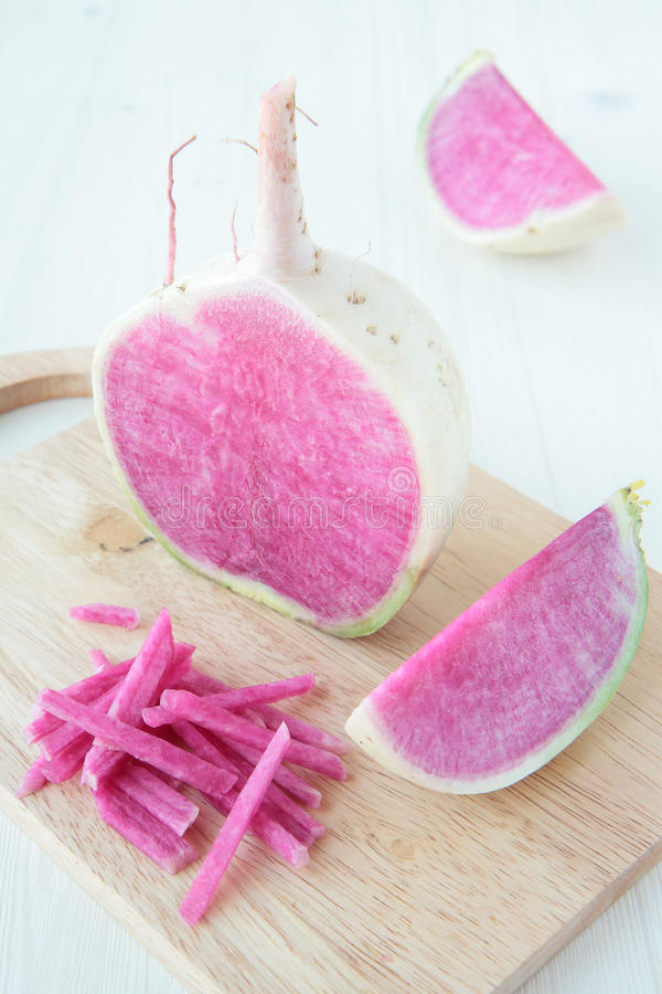 Half A Radish With A Purple Core Royalty Free Stock Image
