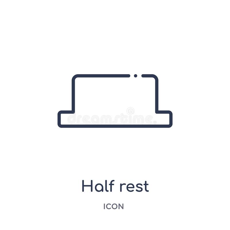 Half rest icon from music and media outline collection. Thin line half rest icon isolated on white background stock illustration