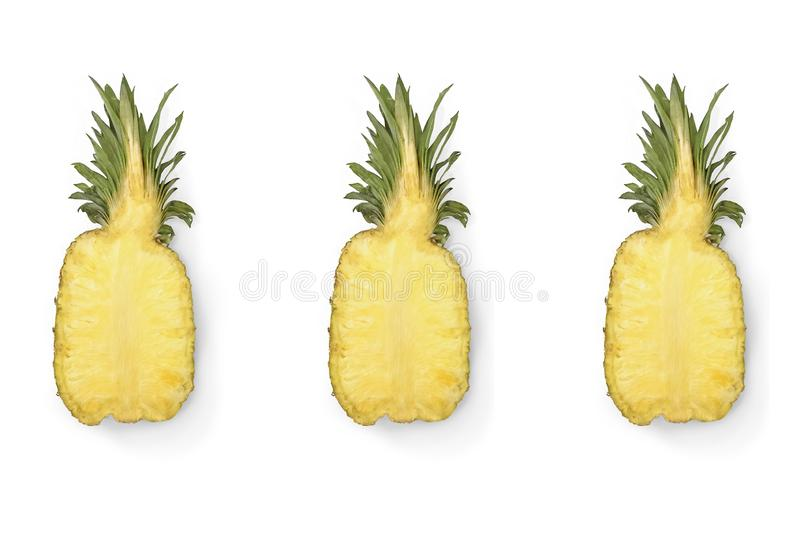 Half of ripe juicy pineapple isolated on white background. stock photos