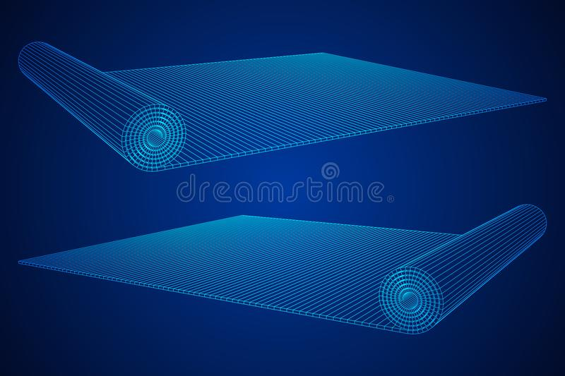 Half rolled yoga pilates mat. Wireframe low poly mesh vector illustration.. Fitness and health. Exercise equipment stock illustration