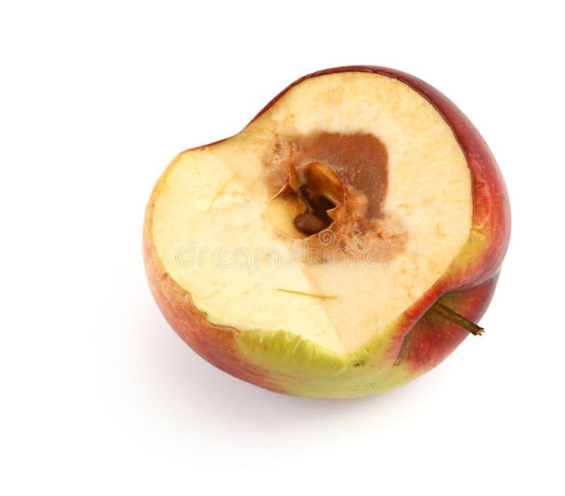 Half of a rotten apple stock photos