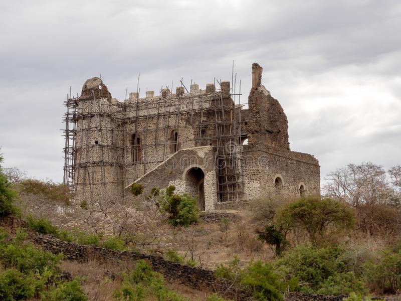 Half ruined castle of Cura Thumbs Up, North Ethiopia royalty free stock image