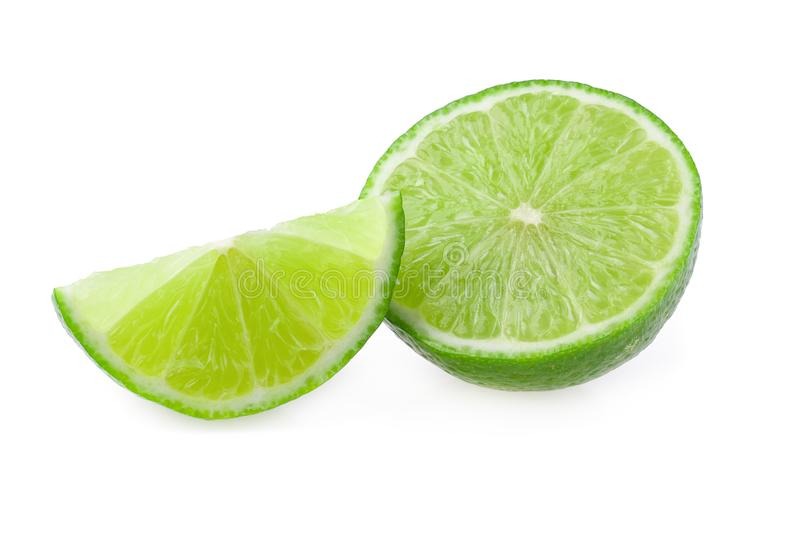 Half with slice of fresh green lime isolated on white background royalty free stock image
