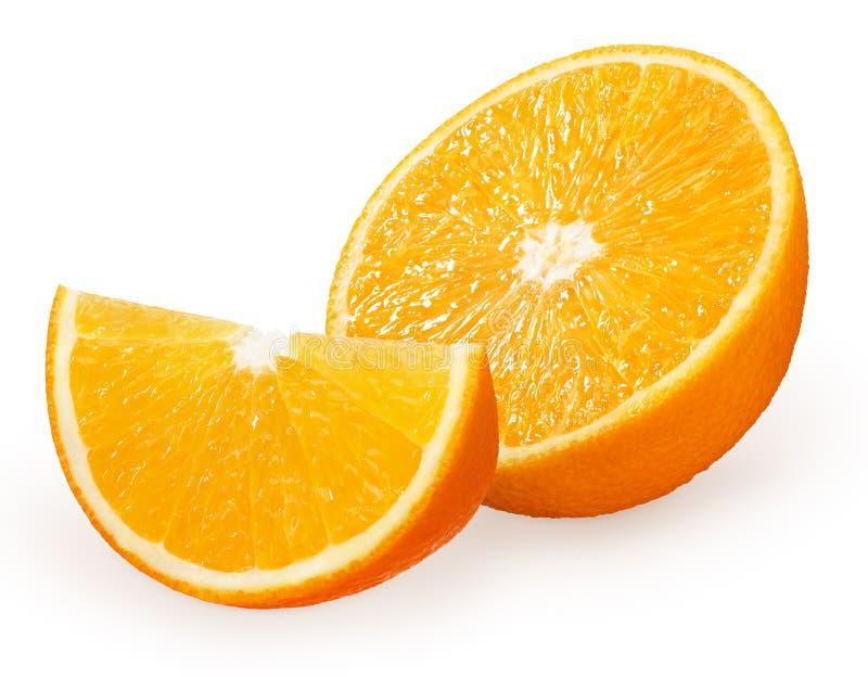 Half and slice of fresh orange fruit isolated on white royalty free stock photo