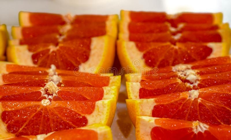 Half slices of bright colored blood orange royalty free stock images