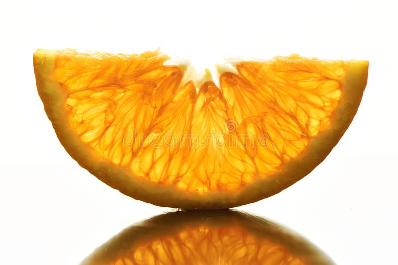 Half slices of Orange on a white background stock images