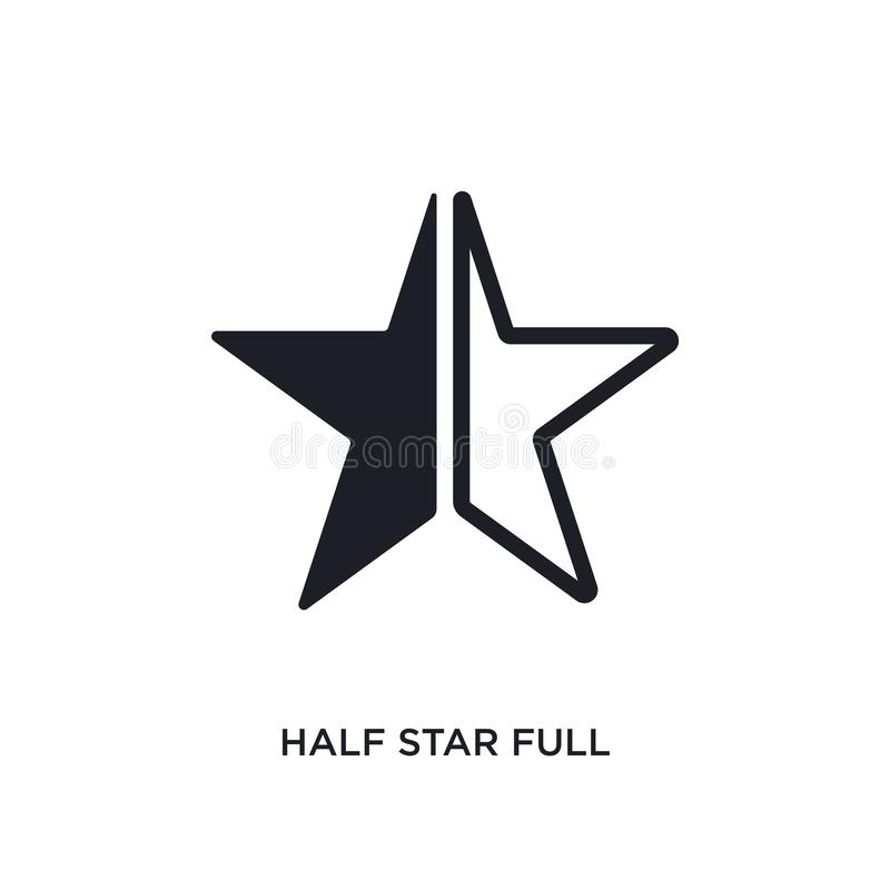 Half star full isolated icon. simple element illustration from ultimate glyphicons concept icons. half star full editable logo. Sign symbol design on white vector illustration