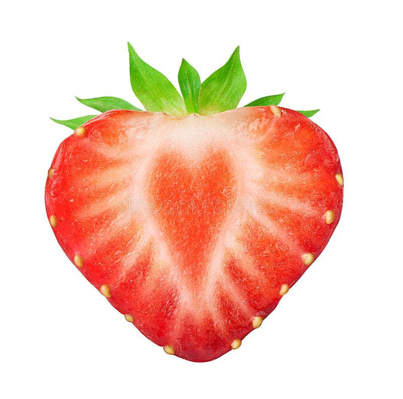 Half of strawberry  on white stock images