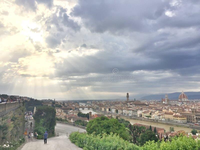 Half Sunny ,Half Cloudy in Florence stock photos