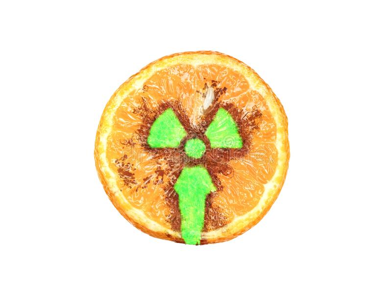Half of tangerine with a glowing radioactive sign royalty free illustration