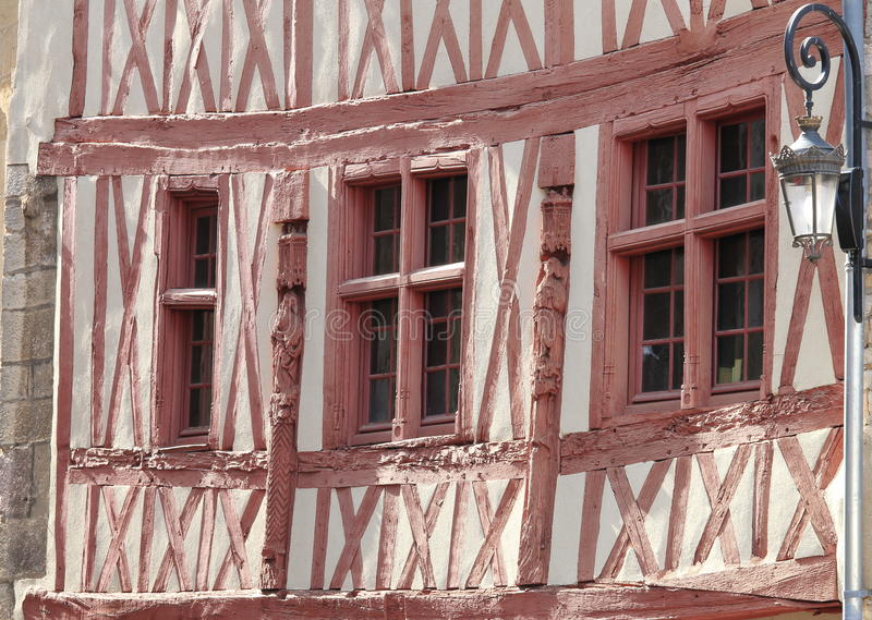 Half-timbered gable, Dijon, France. Dijon is a city in eastern France and it has retained varied architectural styles from many of the main periods of the past stock photo