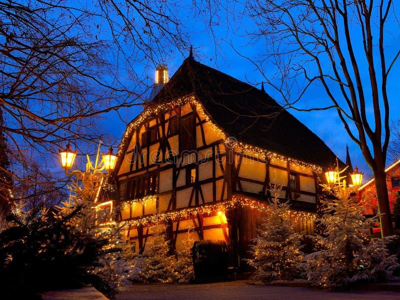 Half-timbered house Christmas magic by night stock photo
