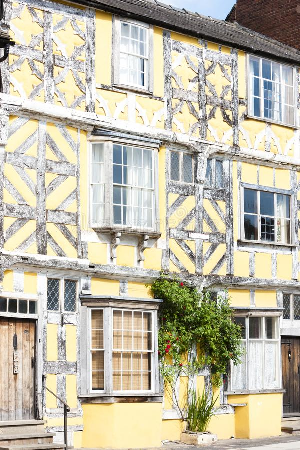 Half timbered house, Ludlow, Shropshire, England. Outdoors, outside, exteriors, europe, western, great, britain, united, kingdom, uk, midlands, village, town stock images