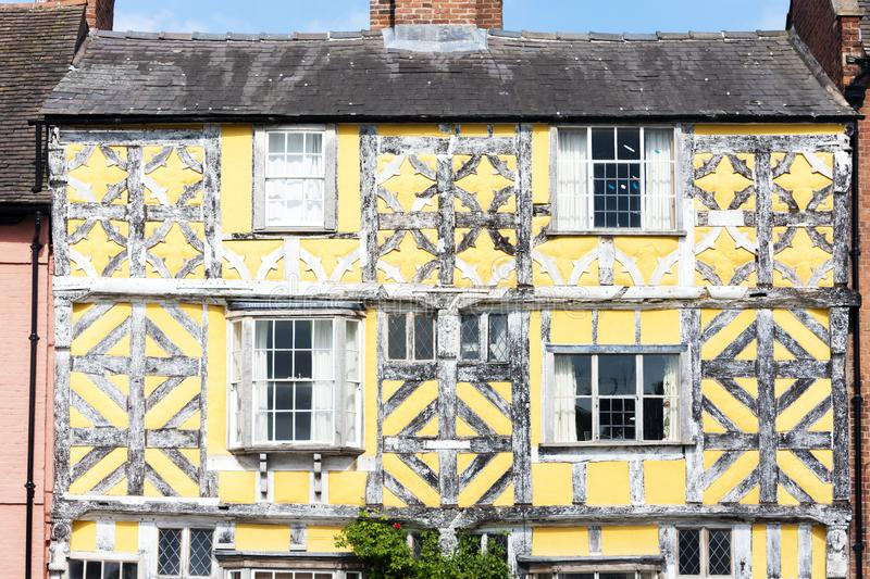 Half timbered house, Ludlow, Shropshire, England. Outdoors, outside, exteriors, europe, western, great, britain, united, kingdom, uk, midlands, village, town stock photo