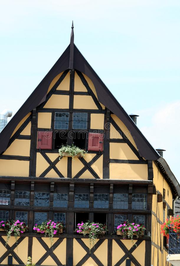 Half timbered house on the market square in the centre of town stock images