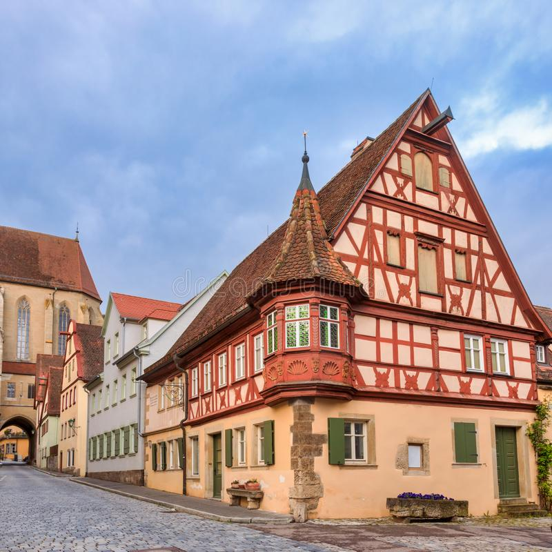 Half-timbered house Rothenburg ob der Tauber Old Town Bavaria Germany. Picturesque half-timbered house in Rothenburg ob der Tauber Old Town, Bavaria, Germany stock images