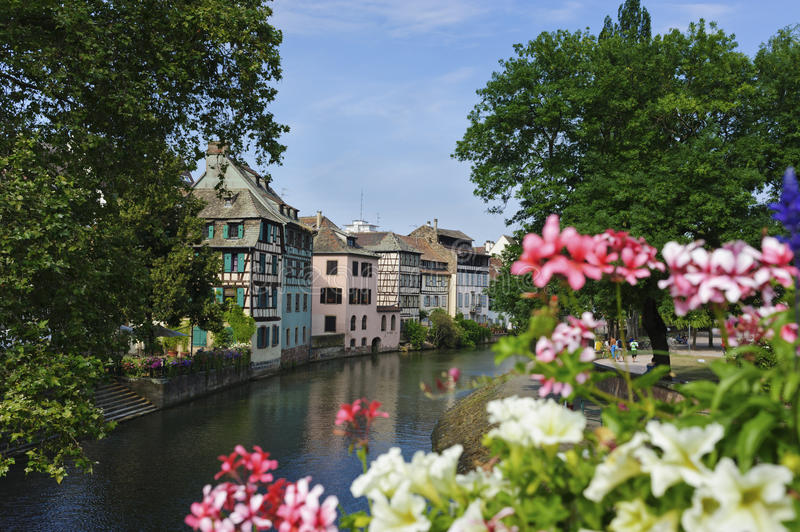 Half timbered houses along the canals of Strasbourg royalty free stock image