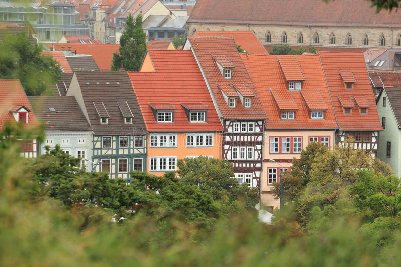 Half-timbered Houses In Erfurt Stock Photo